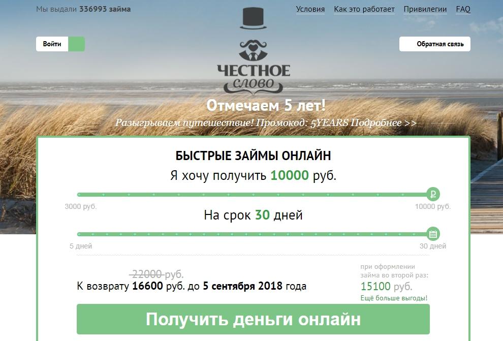 Честное Слово оформить займы - официальный сайт, отзывы, личный кабинет